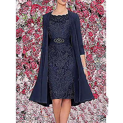 cheap Dresses-Women's Elegant For Mother / Mom Two Piece Dress - Solid Colored Lace Spring Wine Blue Gray M L XL XXL / Slim