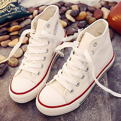 cheap Sneakers-Women's Sneakers Flat Heel Round Toe Rubber / Canvas Summer Black / Pink / White / Black / White