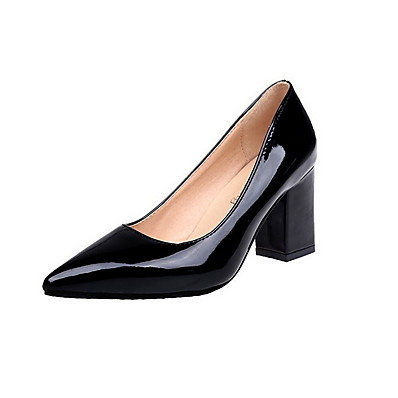 cheap SHOES & ACC-Women's Heels Chunky Heel Pointed Toe Rubber / PU Summer Black / White / Burgundy