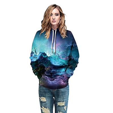 cheap Sweatshirt Hoodie-Women's Casual Hoodie - 3D Rainbow S