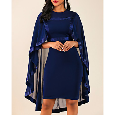 cheap Dresses-Women's Plus Size Cocktail Party For Mother / Mom Sheath Dress - Solid Colored Crew Neck Black Wine Navy Blue S M L XL