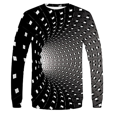 cheap Men's Tops-Men's Daily Holiday Basic / Street chic EU / US Size T-shirt - Polka Dot / Houndstooth / Solid Colored Round Neck Black / Long Sleeve