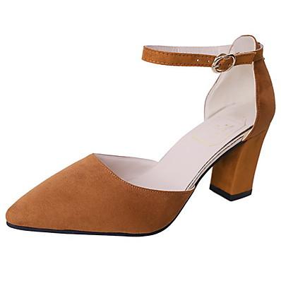 cheap Shoes-Women's Heels Chunky Heel Pointed Toe PU Summer Black / Dark Brown / Pink / Daily