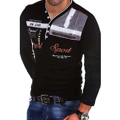 cheap Men's Tops-Men's Slim T-shirt - Letter V Neck Black