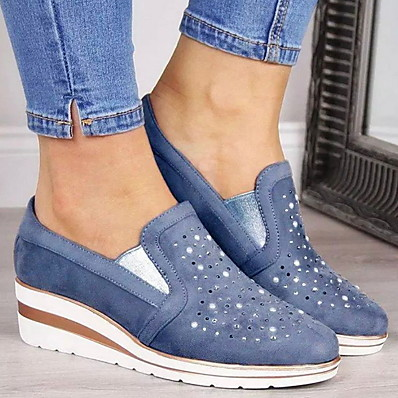 cheap New In-Women's Sneakers Flat Heel Round Toe Suede Fall & Winter Blue / Pink / Gray
