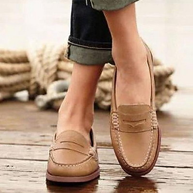 cheap Flats-Women's Loafers & Slip-Ons Flat Heel Round Toe PU Fall & Winter Black / Brown / Khaki