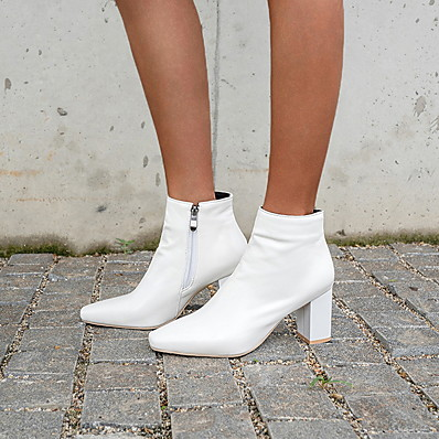 cheap Boots-Women's Boots Block Heel Square Toe Casual Minimalism Daily Solid Colored PU Booties / Ankle Boots Winter White / Black