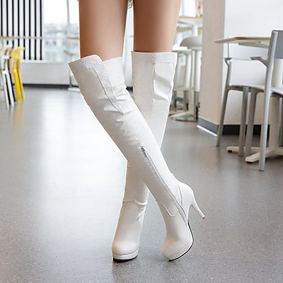 cheap Shoes-Women's Boots Knee High Boots Stiletto Heel Round Toe PU Knee High Boots Fall & Winter Black / White