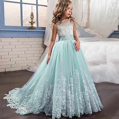 cheap Kids-Kids Little Girls' Dress Lace Floral Princess Party Formal Evening Wedding Pageant Embroidery Bow White Purple Red Tulle Maxi Sleeveless Elegant Vintage Ball Gown Dresses Fit 4-13 Years