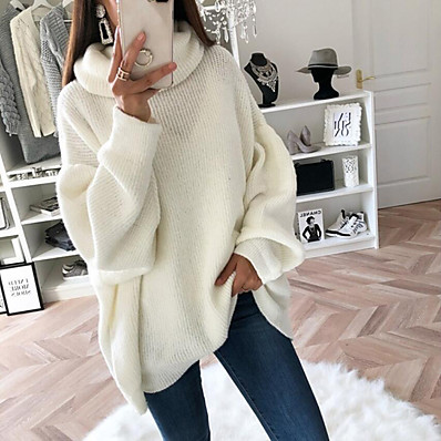 cheap Knit Tops-Women's Casual Knitted Solid Color Pullover Sweater Long Sleeve Loose Sweater Cardigans Turtleneck Fall Winter Blushing Pink Gray White Holiday Work