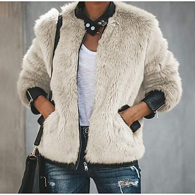 cheap NewIn-Women's Faux Fur Coat Regular Solid Colored Daily Basic Beige S M L