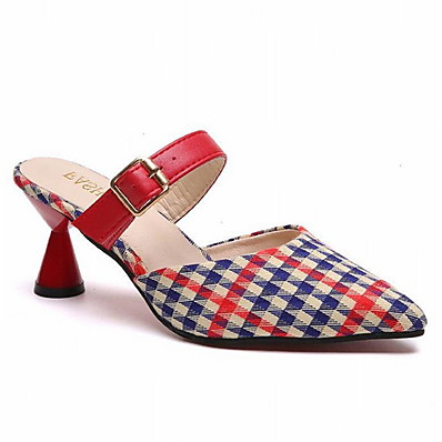 cheap Shoes-Women's Clogs & Mules Low Heel Pointed Toe Pigskin Summer Black / Red