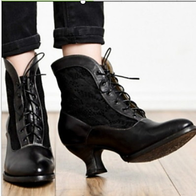 cheap SHOES-Women's Boots Chunky Heel Round Toe Microfiber Booties / Ankle Boots Fall & Winter Black