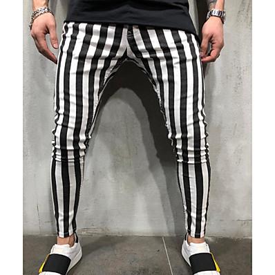 cheap Men's Bottoms-Men's Active Chinos Pants - Striped Black & White Black White US32 / UK32 / EU40 US36 / UK36 / EU44 US38 / UK38 / EU46