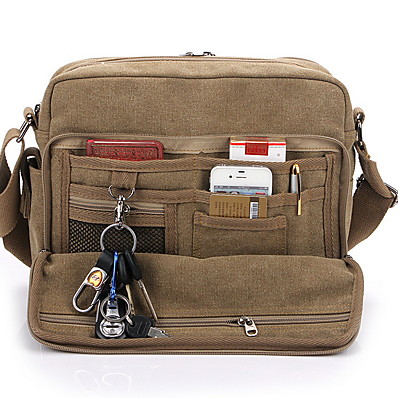 cheap Bags-Men's Bags Canvas Shoulder Messenger Bag Crossbody Bag Zipper Solid Color Canvas Bag Daily Black Khaki Brown