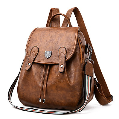 cheap ACCESSORIES-Women's Cowhide Shoulder Strap School Bag Commuter Backpack Adjustable Waterproof Zipper Daily Black Brown Dark Blue