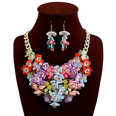 cheap Women's Jewelry-Women's Statement Necklace Bib Flower Ladies European Chunky fancy Alloy Rainbow Black Yellow Pink Beige Necklace Jewelry For Casual Daily