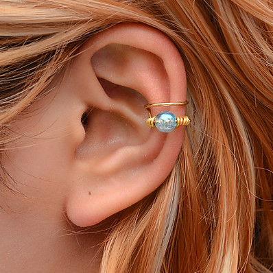 cheap Women's Jewelry-Women's Ear Cuff Geometrical Joy Earrings Jewelry White / Blue For Carnival