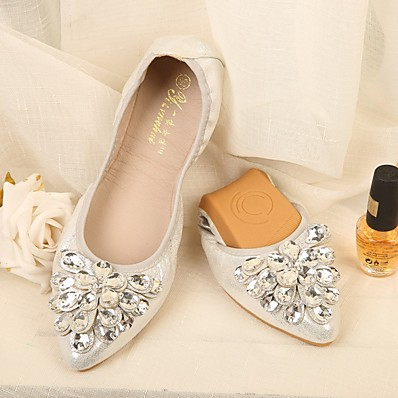 cheap Flats-Women's Flats Glitter Crystal Sequined Jeweled Flat Heel Pointed Toe Synthetics Summer Gold / Silver / Black