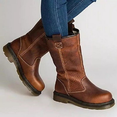 cheap Shoes-Women's Boots Comfort Shoes Flat Heel Round Toe PU Mid-Calf Boots Fall & Winter Brown