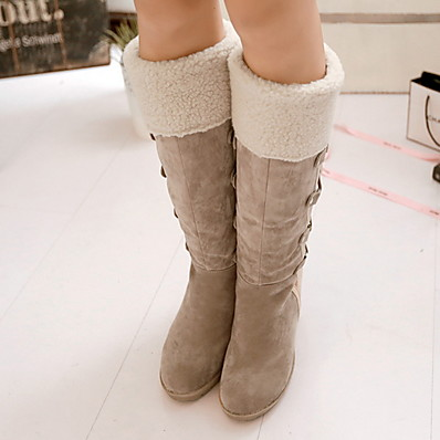 cheap Shoes-Women's Boots Snow Boots Wedge Heel Round Toe Suede Mid-Calf Boots Fall & Winter Black / Yellow / Beige