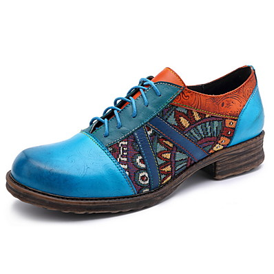 cheap Oxford shoes-Women's Oxfords Low Heel Round Toe Leather Fall & Winter Royal Blue