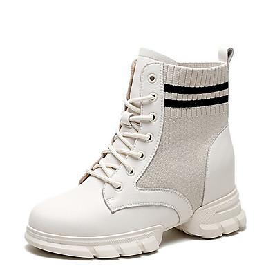 cheap Sneakers-Sneakers Women's Flat Heel Round Toe Daily Cowhide Black Beige / Booties / Ankle Boots
