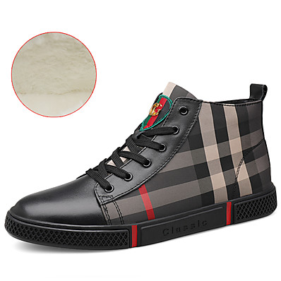 cheap Men's Shoes-Men's Leather Shoes Cowhide Winter British / Preppy Sneakers Walking Shoes Warm Black / White