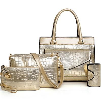 cheap Bags-Women's Zipper PU Bag Set 5 Pieces Purse Set Black / Gold / Blue