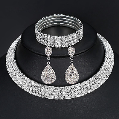cheap Women's Jewelry-Women's Jewelry Set Bracelet Bangles Drop Earrings Pave European Fashion Elegant Italian everyday Iced Out Imitation Diamond Earrings Jewelry 2 Rows / 3 Rows / 4 Rows For Wedding Party Prom