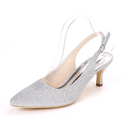 cheap SHOES & ACC-Women's Wedding Shoes Stiletto Heel Pointed Toe Synthetics Minimalism Fall / Spring & Summer White / Champagne / Light Purple / Party & Evening