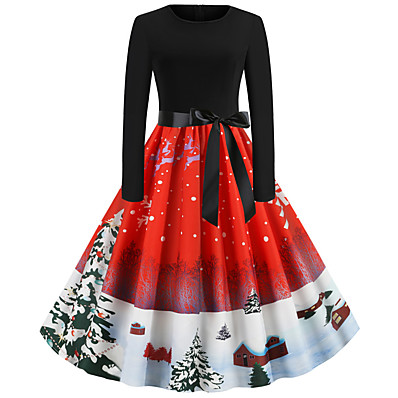 cheap CHRISTMAS GIFTS-Women's Christmas Party Daily Wear Basic A Line Dress - Solid Colored Red S M L XL