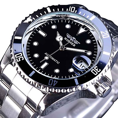 cheap Men's Watches-Men's Mechanical Watch Analog Automatic self-winding Sporty Stylish Luxury Water Resistant / Waterproof Calendar / date / day Noctilucent / Stainless Steel / Stainless Steel