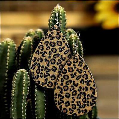 preiswerte Damenschmuck-Damen Tropfen-Ohrringe Ohrring Ohrringe baumeln Klassisch Ausgeschnitten Träne Einfach Leopardenmuster Modisch afrikanisch Pelz Ohrringe Schmuck Gitter / Leopard Beige / Leopard Pink Für Strasse