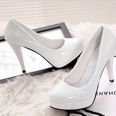 cheap Pumps & Heels-Women's Heels Stiletto Heel Round Toe PU Summer Black / Almond / White