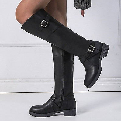 cheap Shoes-Women's Boots Knee High Boots Flat Heel Round Toe PU Knee High Boots Winter Black / Dark Brown / Green