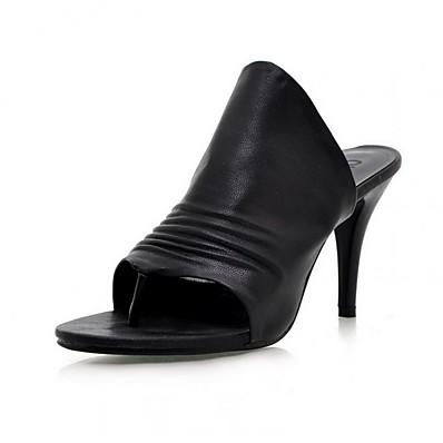 cheap Slippers-Women's Slippers & Flip-Flops Stiletto Heel Open Toe PU Spring & Summer Black / White