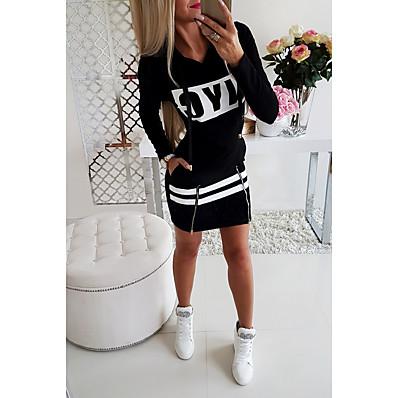 cheap Sweatshirt Hoodie-Women's Daily Wear Basic Sheath Dress - Solid Colored Print Black Red Gray S M L XL