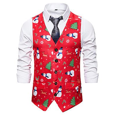 cheap Men's Outerwear-Men's Vest, Color Block V Neck Polyester Red