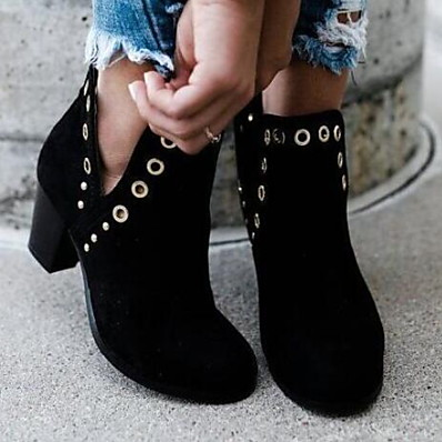 cheap SHOES-Women's Boots Chunky Heel Round Toe PU Booties / Ankle Boots Fall & Winter Black