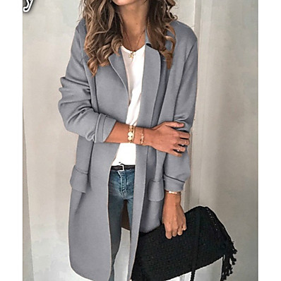 cheap OUTERWEAR-Women's Blazer, Solid Colored Notch Lapel Polyester Black / Blushing Pink / Beige