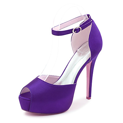 cheap SHOES & ACC-Women's Wedding Shoes Stiletto Heel Peep Toe Buckle Satin Minimalism Fall / Spring & Summer Black / White / Purple / Party & Evening