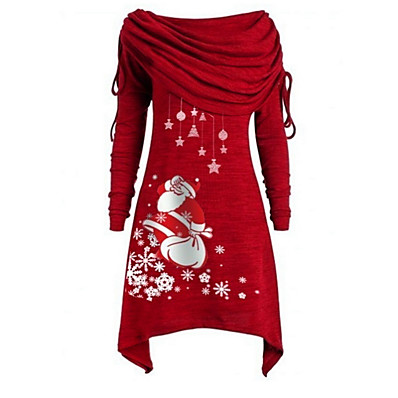 cheap Doorbuster-Women's Christmas Party Daily Wear Basic Asymmetrical A Line Dress - Geometric Santa Claus Off Shoulder Black Purple Blue S M L XL