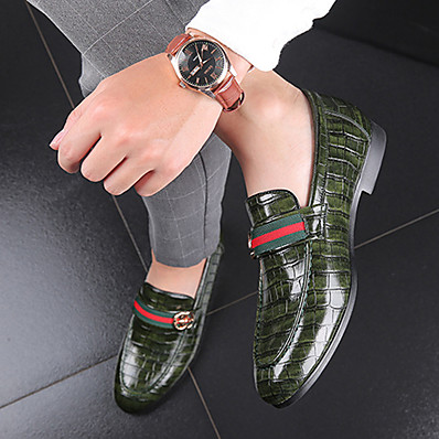 cheap Men's Shoes-Men's Formal Shoes PU Spring & Summer / Fall & Winter Business / Casual Loafers & Slip-Ons Walking Shoes Breathable Black / Green / Red / Party & Evening