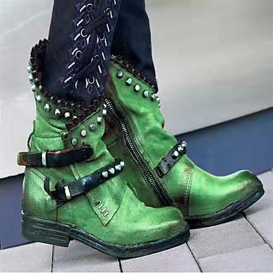 cheap SHOES-Women's Boots Comfort Shoes Block Heel Round Toe PU Mid-Calf Boots Fall & Winter Black / Purple / Green