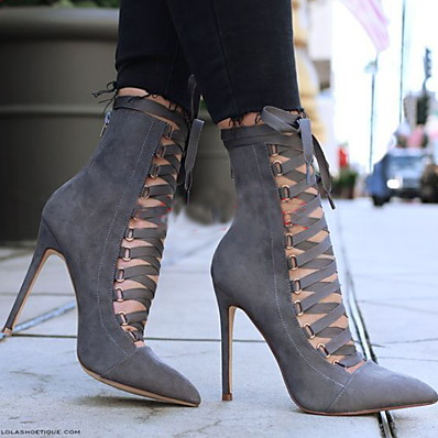 cheap SHOES-Women's Boots Stiletto Heel Boots Pumps Pointed Toe Booties Ankle Boots Vintage Minimalism Daily Suede Lace-up Solid Colored Winter Black Army Green Pink / Mid-Calf Boots