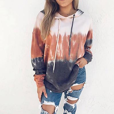 cheap Sweatshirt Hoodie-Women's Casual / Basic Hoodie - Tie Dye Orange S