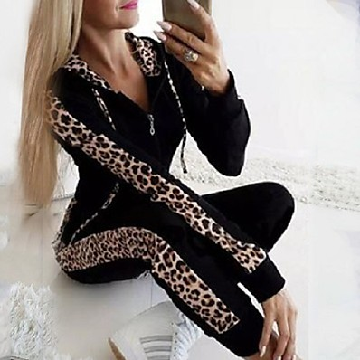 cheap Two Piece Set-Women's Casual Activewear Set - Leopard Black S