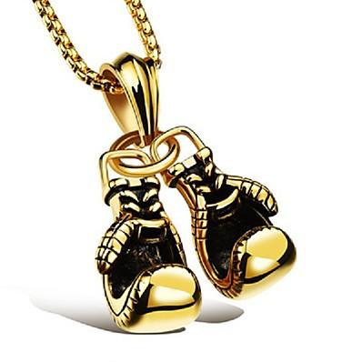 preiswerte Schmuck für Herren-Herren Anhänger Halskette Ketten Stilvoll Fuchsschwanzkette Dookie-Kette Boxhandschuhe Stilvoll Europäisch Hip-Hop HipHop Aleación Schwarz Gold Silber 60 cm Modische Halsketten Schmuck 1pc Für