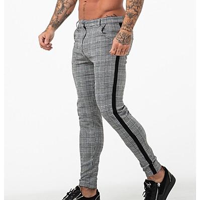 cheap Men's Bottoms-Men's Basic Chinos Pants - Plaid / Checkered Black White US32 / UK32 / EU40 US34 / UK34 / EU42 US36 / UK36 / EU44